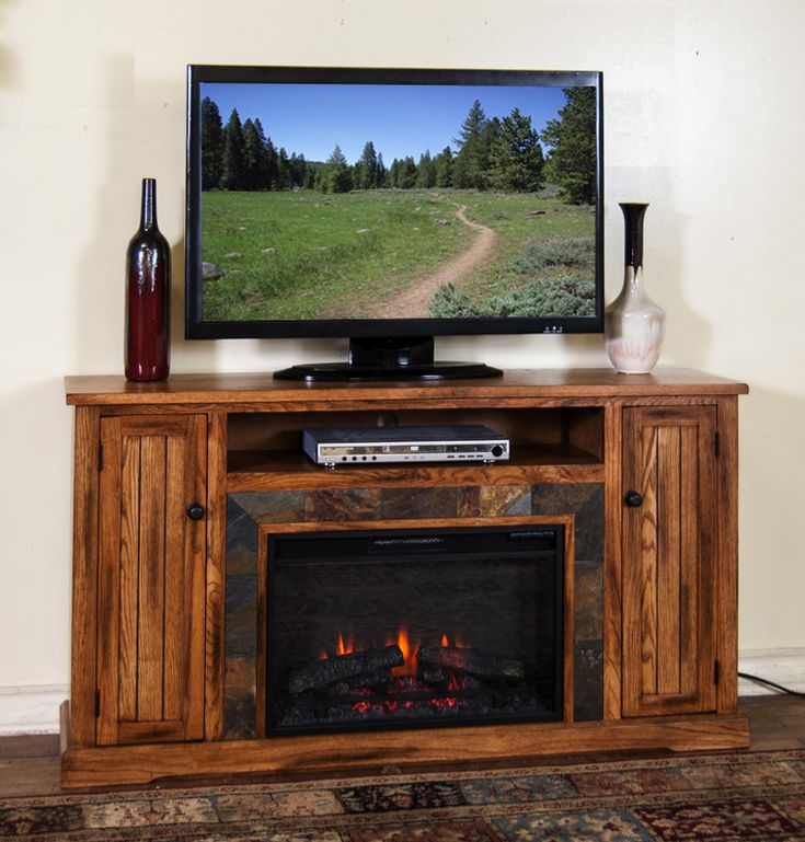 "Sarah Check Hearth Cabinet: SD-3488RO-60R 60"" Sedona Rustic Oak Fireplace TV Stand"