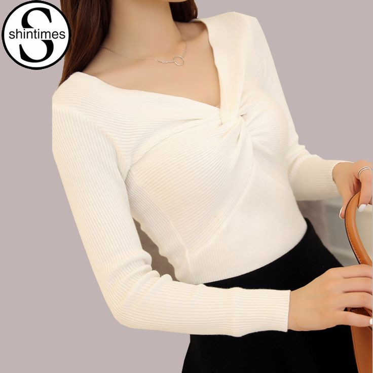 Cheap knitted women sweater, Buy Quality women sweaters and pullovers directly from China women sweater Suppliers: Autumn V-Neck Pink Sweater White Pull Femme Winter 2016 Knitted Women Sweaters And Pullovers Woman Gilet Femme Manche Longue
