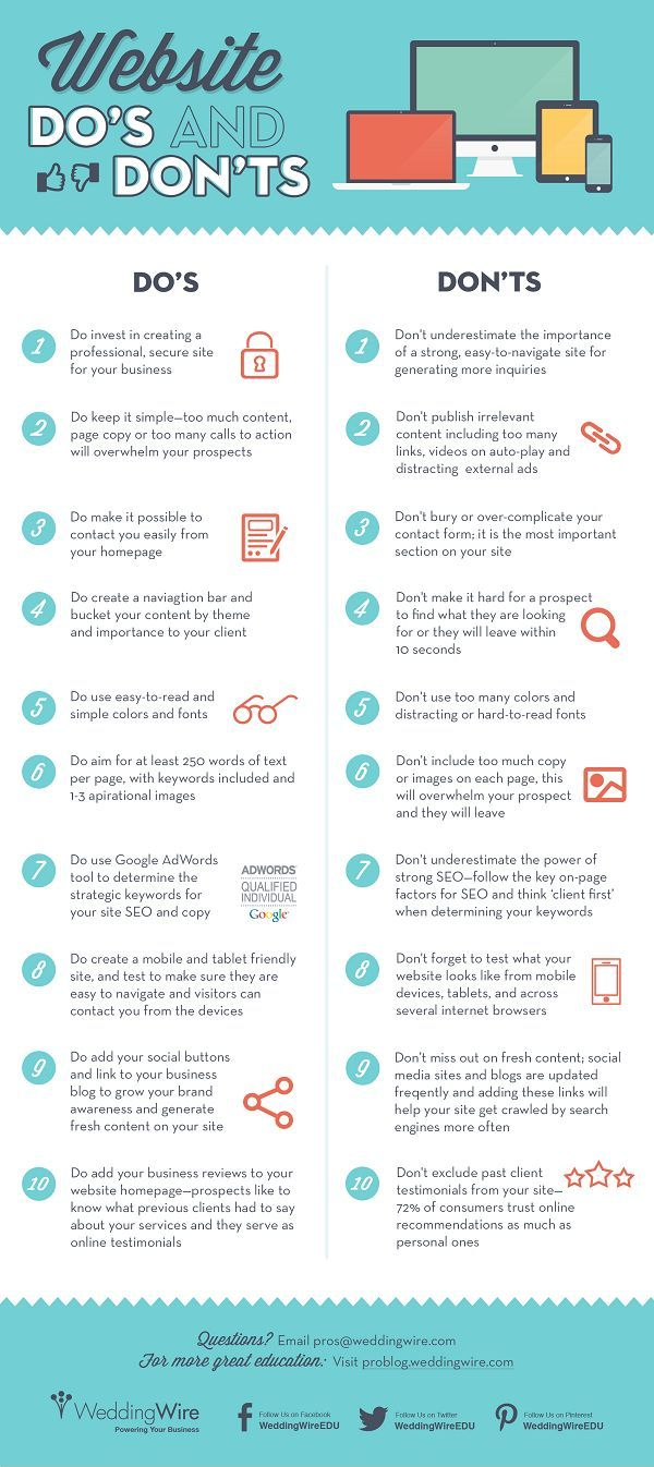 20 Do's and Don'ts for a Successful Small Business Website [#Infographic]