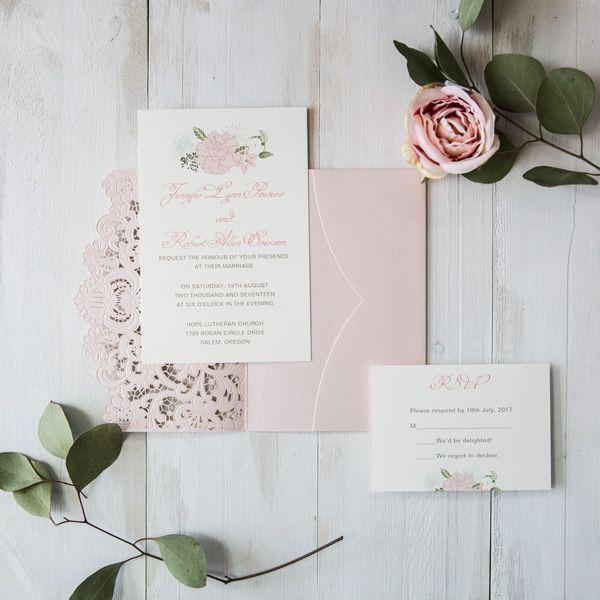 elegant blush pink floral laser cut wedding invitation cards EWWS173