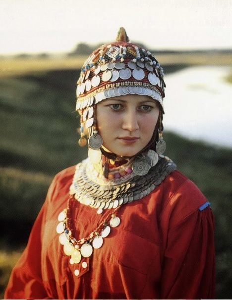 North Asia | Portrait of a girl from Chuvashia region (Volga river area) wearing the surpan, traditional wedding hat of chuvash' women. The main idea of the hat was to protect the mind and the soul from evil, , Chuvashia, Russia
