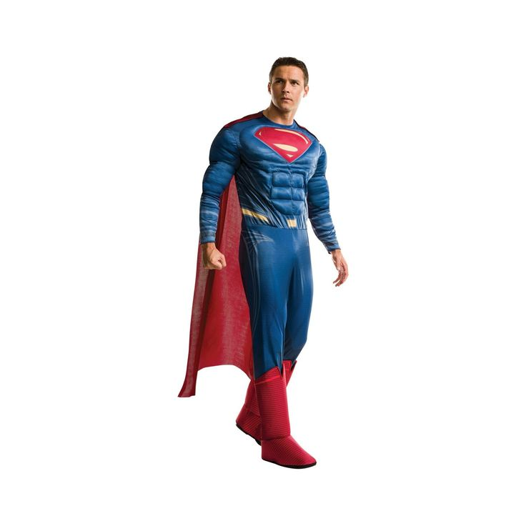 Halloween Batman v Superman: Dawn of Justice Men's Deluxe Superman Costume, Multi-Colored