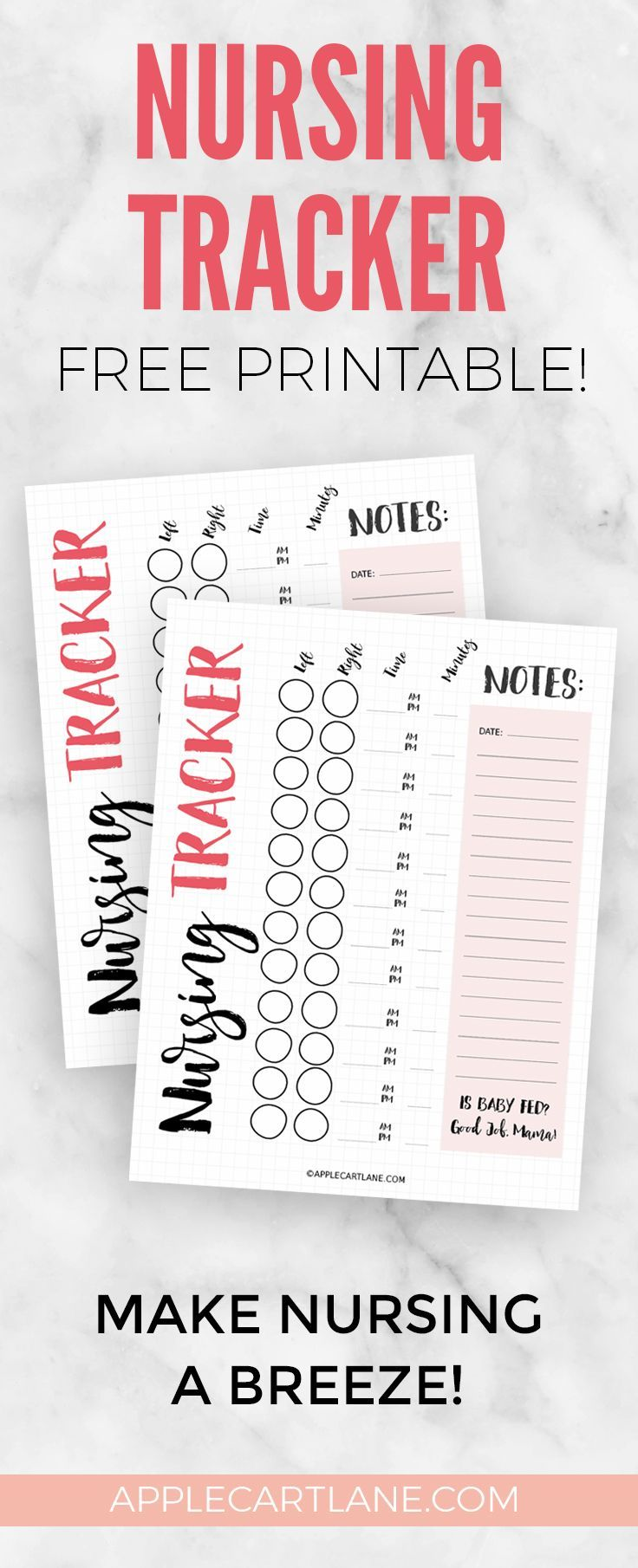 Hey Mama! Keep track of all of that important stuff that comes along with nursing with my free printable nursing tracker!