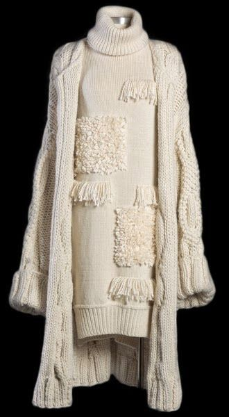 Contemporary Knitwear Design - knitted dress with texture panels & long…