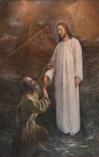 """""""Peter on the water"""" 1892, Eero Jarnefelt. Altar piece of Taulumäki Church in Jyväskylä, Finland - Christ lifting up the sinking Peter."""