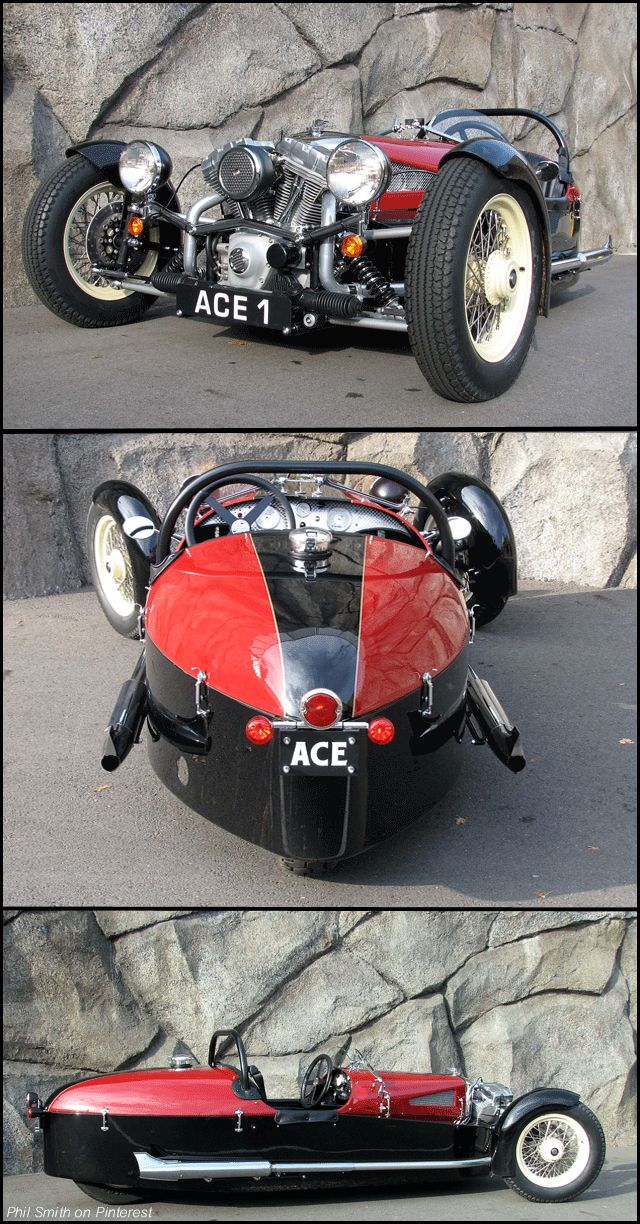 2013 Ace Cycle Car. Made by Liberty Motors Seattle USA. With a nod and a wink to the legendary Morgan three-wheelers of the 1930's,the ACE is a serious sport vehicle delivering modern performance, handling and reliability. powered by the latest Harley-Davidson® Twin-Cam® 'B' engine (100 + HP), the ACE features a 5-speed (w/reverse) automotive transmission, rally clutch, unequal length 'A' arm front suspension and triple disc brakes, the ACE is capable of 120 mph.