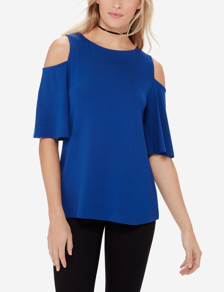 Your comfortable tee just got an upgrade in on-trend cold shoulder details.
