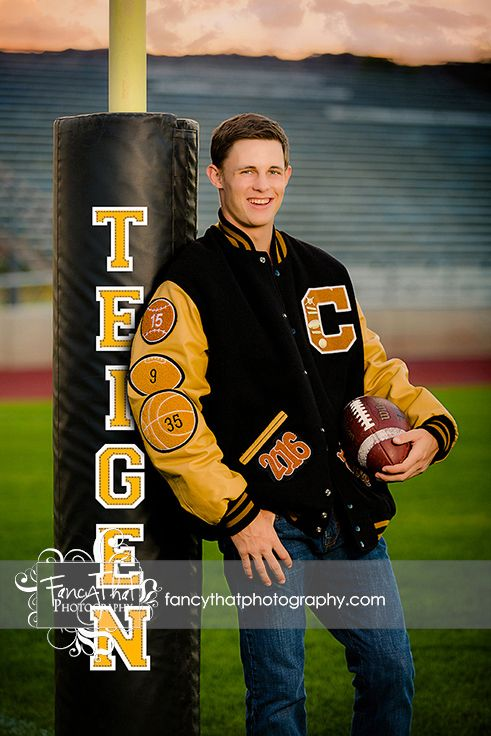 Senior picture ideas for boys| football, football field, goalpost, name on goalpost, letterjacket | Fancy That Photography | Gwen Bradbury