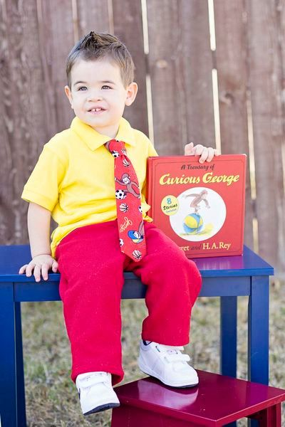 Little Boys Curious George Tie  Red Brown