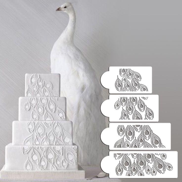 Peacock Spray Cake Stencil Set, Cake Side Stencil, Stencil for cake decorating, Wall Decorating Stencil