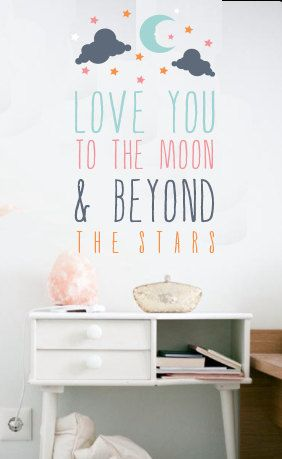 Love You to The Moon WALL DECAL by TheLovelyWall on Etsy, $32.00