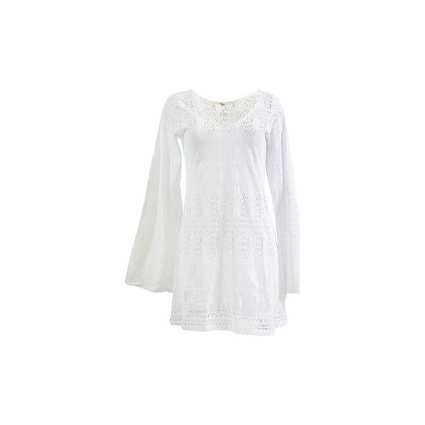 Pilyq Tunic  Bella Tunic white Tunic dress (2.481.600 IDR) ❤ liked on Polyvore featuring dresses, tunic dress, white, women, white dress, pilyq, white day dress and white color dress