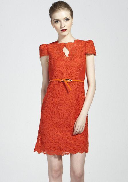 Orange Short Sleeve Scallop U Neckline Lace Bodycon Dress