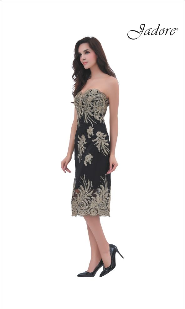 J11358 Chic strapless sheath dress with contrasting gold lace appliques.  A stunning choice for Cocktail Dress, Guest at Wedding, Bridesmaid, Maid of Honor, Prom, Pageant, Red Carpet, Evening Gown, Mother of the Bride, Mother of the Groom.  Can be special ordered in sizes 2-26.