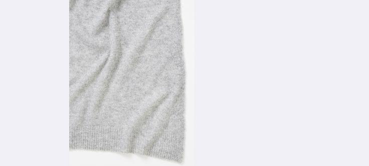 Écharpe femme en cachemire - Gris chiné+Marine chiné+Vermillon - 2