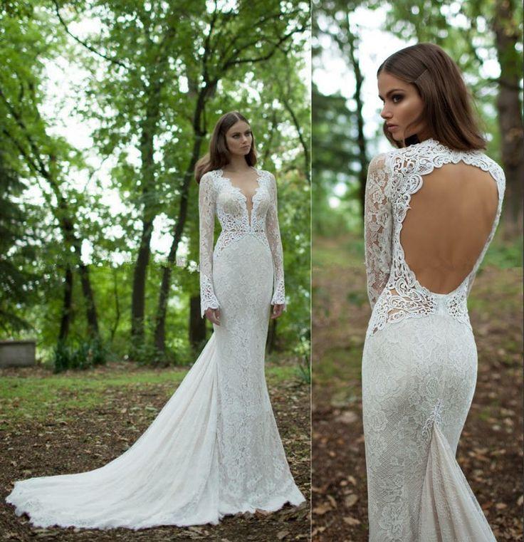 borduurwerk allover 2015 kristal kralen alencon kant bruids jurk elegante halter zien- door middel van zeemeermin trouwjurkenUs