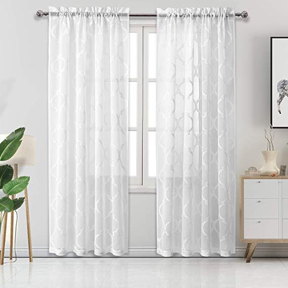 Amazonsmile Dwcn White Moroccan Embroidered Sheer Curtains Faux
