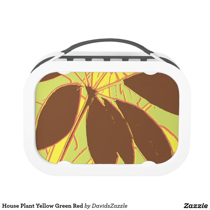 House Plant Yellow Green Red Lunch Box  Available on more products, type in the name of this design in the search bar on my products page to view them all!  #plant #house #leaf #stem #yellow #brown #red #green #pattern #print #all #over #abstract #plant #nature #earth #life #style #lifestyle #chic #modern #contemporary #home #decor #kitchen #dining
