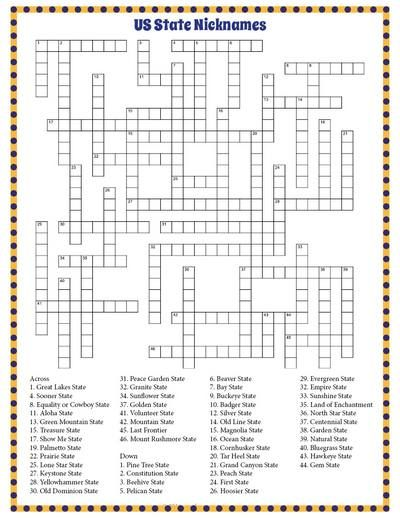 Here is a load of fun free printable state nicknames crossword.  Great for kids, but adults will enjoy as well.  Includes all fifty states.