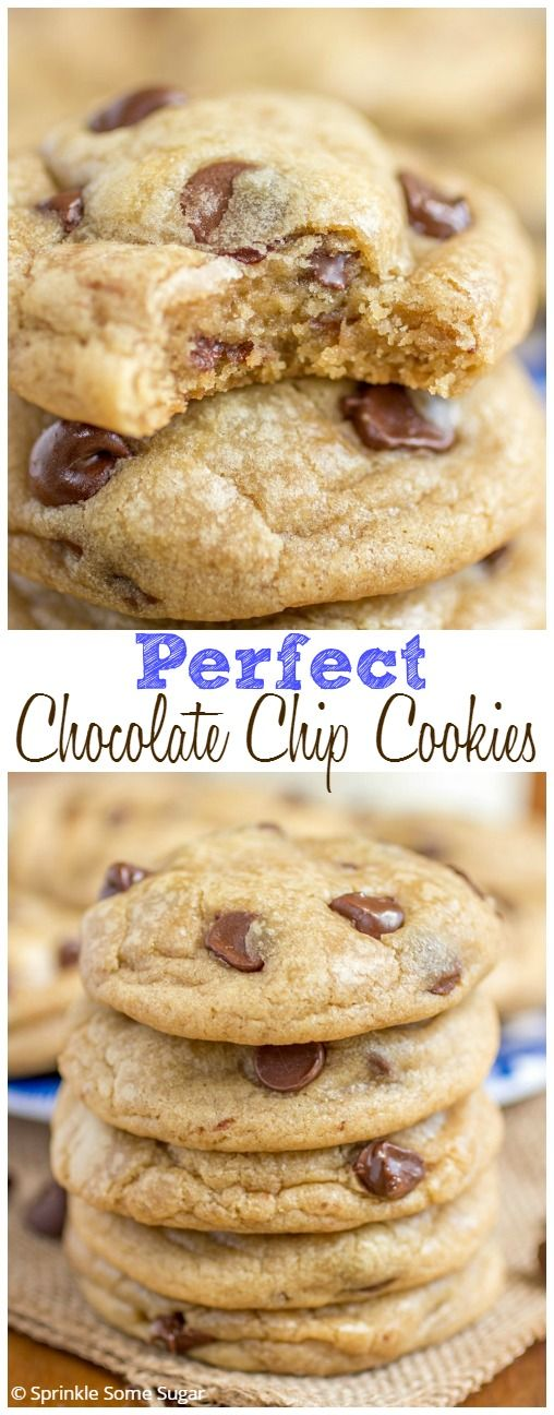 Perfect Chocolate Chip Cookies. Ultra-thick, super-soft, buttery and loaded with gooey chocolate!
