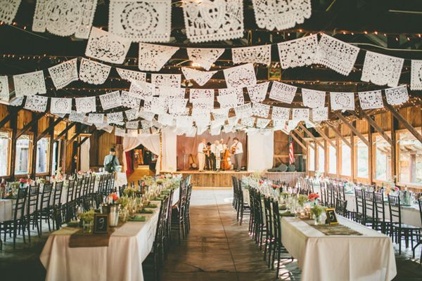 We like this. Long tables, table numbers, papel picado hanging all over, Christmas lights. Yes indeedy.
