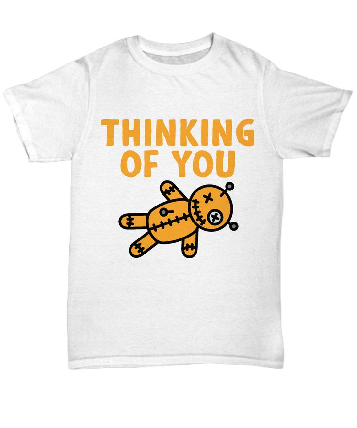 Get this Thinking Of You Voodoo Doll t-shirt if you love sarcasm, witchcraft, spells and halloween puns.