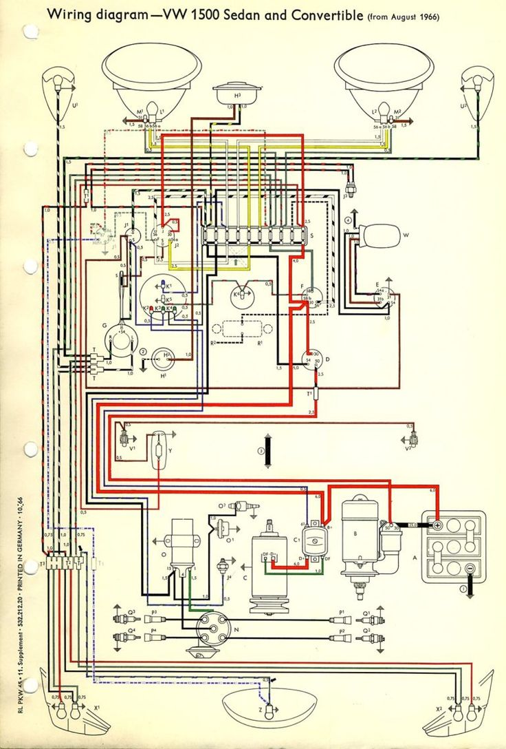 Thesamba Com Type 1 Wiring Diagrams And 1969 Vw Beetle