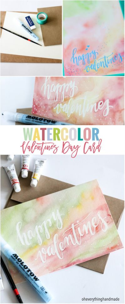 Watercolor Valentines Day Card