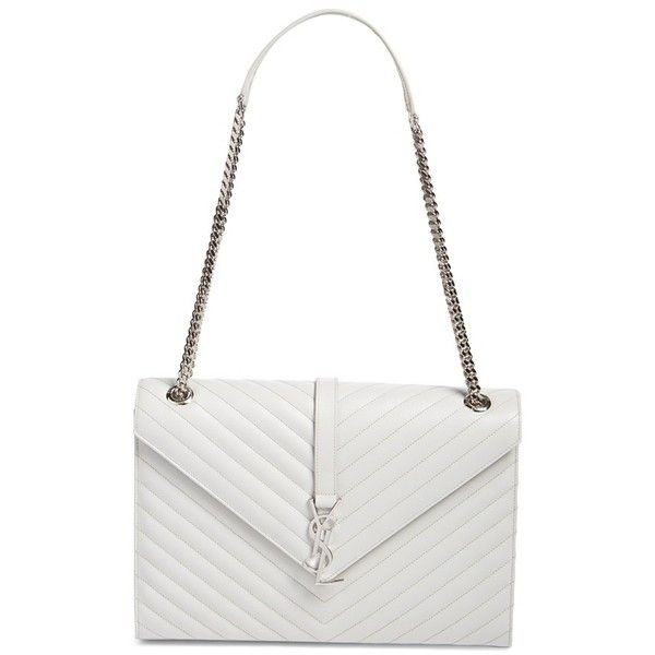 Saint Laurent 'Monogram' Chevron Quilted Leather Shoulder Bag (10.465 BRL) ❤ liked on Polyvore featuring bags, handbags, shoulder bags, perle, shoulder bag purse, white shopping bags, yves saint laurent, white handbags and shoulder handbags
