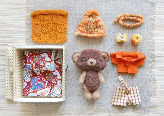 Made To Order, Plush Mini Bear, Toy Play Set, Kids Toy, Stuffed gift, Dolls and Miniatures, Soft Animal, Toy with clothes, Dress up Toy
