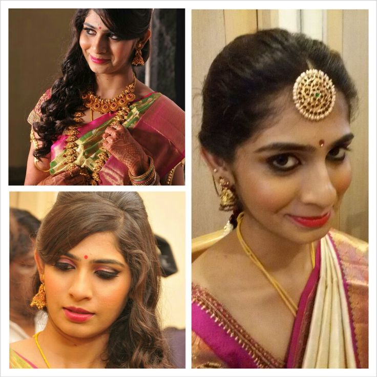 Reception and muhurtham looks,curls,jade,winged eye