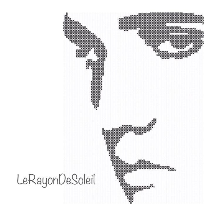 Cross stitch pattern Elvis Presley face van LeRayonDeSoleil op Etsy