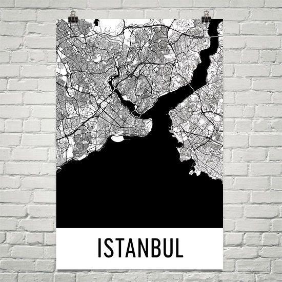 Istanbul Turkey Map, Art, Print, Poster, Wall Art From $29.99 - ModernMapArt