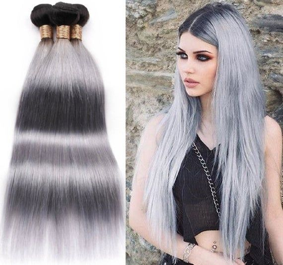 3bundles ombre hair bundles 2tone 1b/grey human hair bundles brazilian hair wefts black root gray h