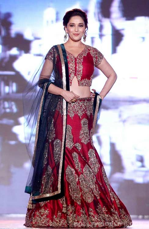 "Madhuri Dixit-Nene walks for ""support the girl child"" initiative in a Manish Malhotra lehenga"