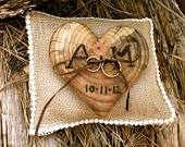 Rustic wedding ring bearer pillow heart country unique fall winter acorn decoration. $30.00, via Etsy.