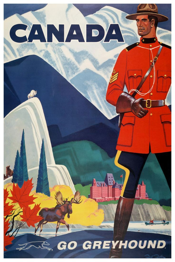 Example of Canadian travel ad during  the postwar era. #canada #mountie #travel #cdnhistory