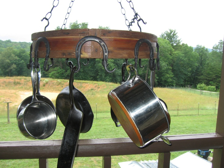 On sale from 395 - Pot Rack  Upcycled Paper Mill Pully  Wheel Rustic Pot Rack. $298.00, via Etsy.