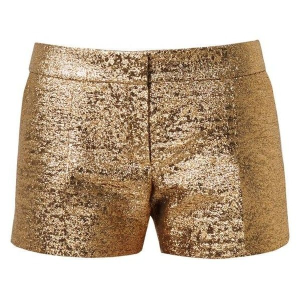 Lanvin Metallic Lamé Shorts ❤ liked on Polyvore featuring shorts, lanvin, metallic gold shorts, metallic shorts and summer shorts