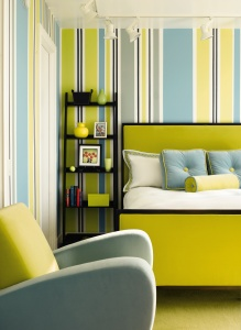 The bold use of color in this guest room instantly evokes an energetic and fun ambience.