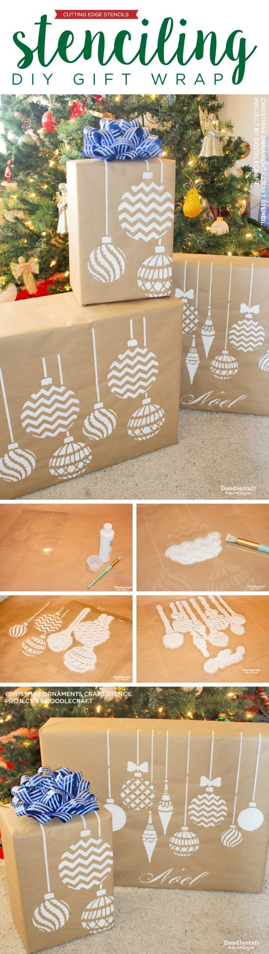 Cutting Edge Stencils shares how to stencil DIY gift wrap using Christmas Ornaments Stencil and Kraft paper. http://www.cuttingedgestencils.com/diy-christmas-decor-craft-and-furniture-stencils.html?utm_source=JCG&utm_medium=Pinterest&utm_campaign=Christmas%20Ornaments%20Craft%20Stencil: