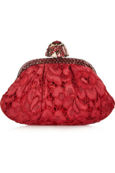 Dolce & Gabbana Dea Smayy Ayers-Trimmed Lace and Velvet Clutch