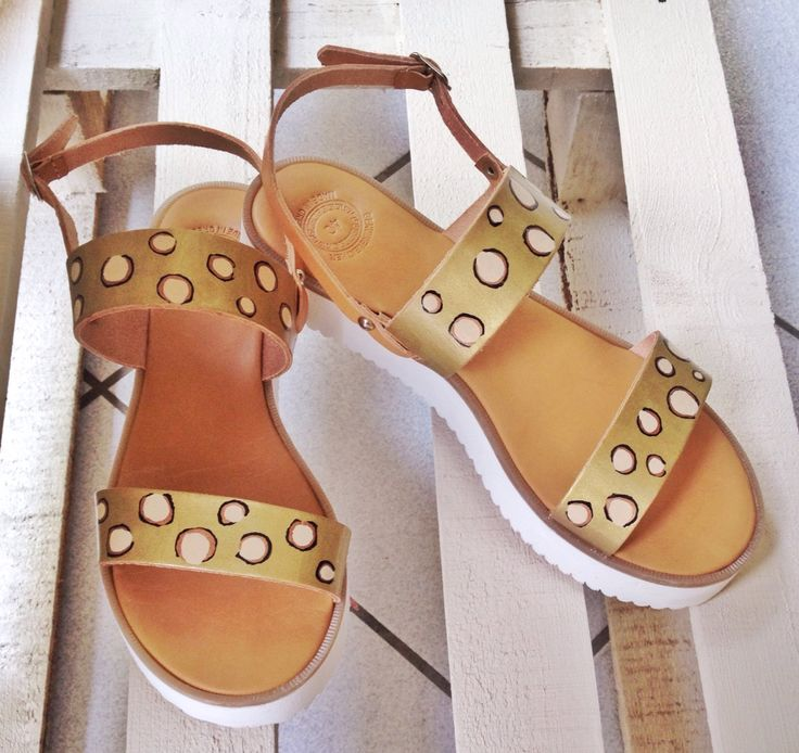 Leopard. Hand painted leather sandals made in Athens,Greece.