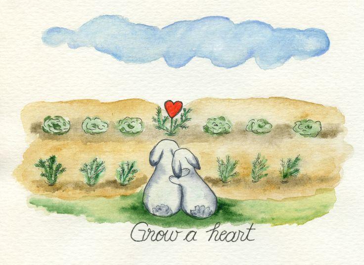 Grow a heart. #story #love #heart #bunny #watercolour #cute