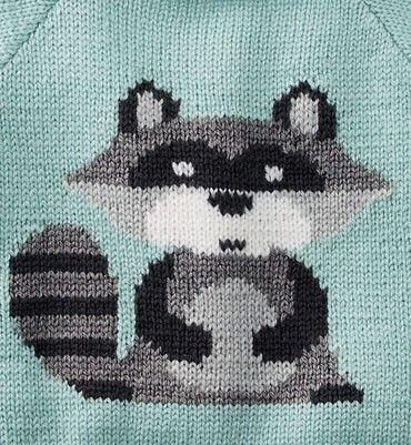 Babytruitje wasbeer patroon met phildar wol super baby from knitting book nr. 579