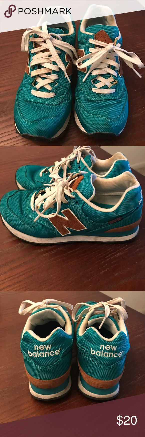 """New Balance 574 Women's new balance 574 """"backpack edition"""" turquoise/camel/white. These shoes are worn in good condition with no rips or tears. They still have a great tread on the bottom as well. New Balance Shoes Sneakers"""