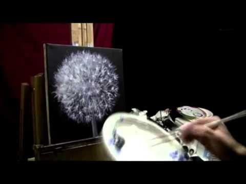 Black & White Dandelion Lesson - Acrylic Painting - YouTube