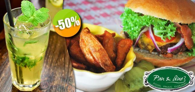 Pan & Qué?- $104 en lugar de $207 por 1 Hamburguesa del Menú con Papas + 1 Mojito De Albahaca ó 1 Limonada. Click: CupoCity.com