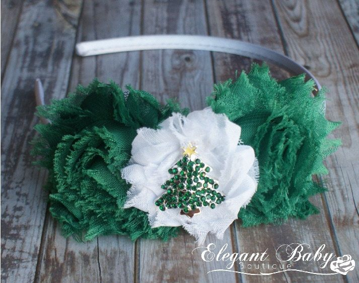 Rhinestone Christmas Tree Headband, Christmas Headband, Green and White Shabby Rose Flower Headband with Rhinestone Christmas Tree Center - pinned by pin4etsy.com