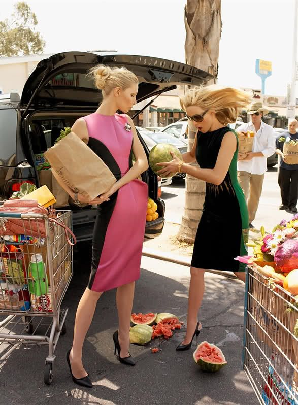 noirfacade: 2-for-1 Special   Amber Valletta, Kirsty Hume by Steven Meisel for Vogue US September 2008 Lmao i know this is a fashion ad but this is totally me and my friends trying to grocery shop and then the watermelon falls and shatters.